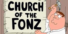 Whereas The Simpsons makes an effort to balance its religious satire with pro-spiritual representations, Family Guy largely regards organized faith as wholly corrupt and its believers as dupes and dopes. The Fonz, I Respect You, Kool Aid, Classic Tv, The Simpsons, Satire, Happy Day, Family Guy, Sunday