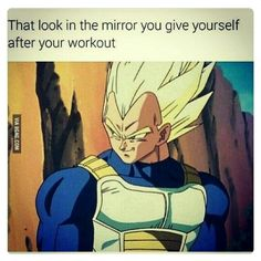 vegeta super saiyan muscles anime memes when you walk by a window and catch a glimpse of your gains Fitness Box, Fitness Memes, Fitness Life, Bodybuilding Memes, Bodybuilding Motivation, Dbz Memes, Funny Memes, Funny Shit, Hilarious