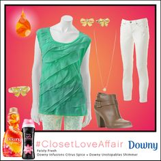 This Feisty Fresh look was inspired by Downy Infusions Citrus Spice and Downy Unstopables Shimmer. Let your bright blouse do the talking in this practical and fabulous look!  To shop this look, visit the LC Lauren Conrad collection available only at Kohl's. To register for the #ClosetLoveAffair sweepstakes visit https://downy.promo.eprize.com/pinterest/.