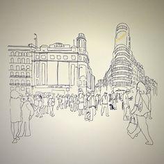 #Madrid #GranVia #Sunny #Sol #Azul #Calle #Street #Line #Building #Tourism #Me #AunionCreatividad #Dibujo #Drwing #Picture ©www.aunioncreatividad.com
