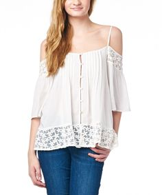 Look at this tresics Ivory Off-Shoulder Button-Up Top on #zulily today!