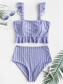 Carprinass Womens Polka Dot Padded Tankini Sets with Briefs Tummy Control 2 Pieces Swimsuit Striped Swimming Costume Swimwear