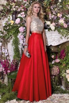 Prom Dresses Evening Dresses by Alyce piece ball dress, gorgeous sheer illusion bodice with gems and an elegant puffy skirt. Prom Dresses 2016, Ball Gown Dresses, Formal Dresses, Skirt Outfits, Dress Skirt, Dress Up, Vestidos Con Crop Top, Top Y Pollera, Red A Line Skirt