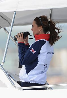 Catherine, Duchess of Cambridge attends Women's Laser Radials race on Day 10 of the London 2012 Olympic Games at the Weymouth & Portland Venue at Weymouth Harbour on August 6, 2012 in Weymouth, England.