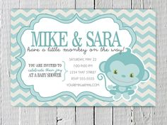 Coupon Code - REPIN10 for 10% off Blue Monkey Custom Baby Shower Printable Invitation, Cute Blue Monkey and Chevron Baby Boy Shower Invite $10.99