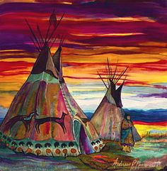 Choose your favorite tipi paintings from millions of available designs. All tipi paintings ship within 48 hours and include a money-back guarantee. Native American Teepee, Native American Decor, Native American Paintings, American Indian Art, Native American Indians, Native American Drawing, Native Americans, Native American Bedroom, Native American Print