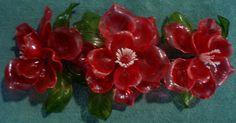 RED Plastic Flower Center Piece Table Vintage Lucite? Decorative Dresser Floral Hippie Flowers, Plastic Flowers, Flower Centerpieces, Vintage, Floral, Table, Red, Color, Flowers