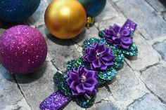 Christmas Green and Purple glittery Floral elastic headband - Baby / Toddler / Girls / Kids Headband / Hairband / Hair flower Christmas Outfits, Christmas Baby, Elastic Headbands, Green And Purple, Rosettes, Favorite Color, Bloom, Awesome, Pretty