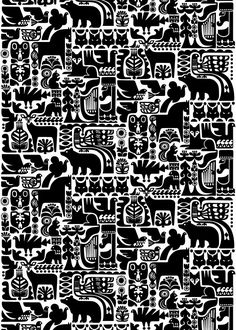 Marimekko Kanteleen Kutsu Upholstery Fabric This gorgeous folkloric pattern was created by new Marimekko designer Sanna Annukka. Kanteleen Kutsu depicts a scene from the Finnish classic, The Kalevala, in which animals gather to hear Väinämöinen . Motifs Textiles, Textile Patterns, Print Patterns, Design Textile, Fabric Design, Pattern Design, Scandinavian Pattern, Scandinavian Design, Surface Pattern