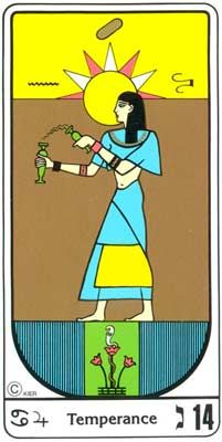 14. La templanza (templanza) en el Tarot Egipcio Kier