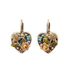 Black Flower Heart Earrings