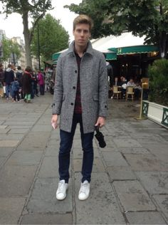 SANDRO Manteau, blouson - ADIDAS Baskets, sneakers #men #mode #look #streetstyle  http://moodlook.com/look/2014-04-26-france-paris-37