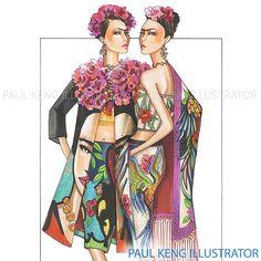 Inspired by Frida K #fashion #fashionillustration #artist #fashiondesigner #fashionillustrator #paulkengillustrator