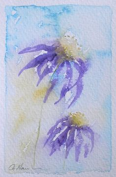 ECHINACEA 6 An Original Small Watercolour Painting - perfect if wall space is limited! by Amanda Hawkins  Size of painted area: 9 x 14cm approx Not framed or mounted  About The Artist  Amanda Hawkins has been painting in watercolours for most of her life, and graduated in Art, Design and Illustration at Southampton Institute. Amanda has worked on numerous commissions both private and commercial, designing greeting cards and illustrating wildlife books. She has held many successful…