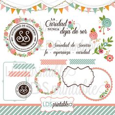 RSCA001S Español socorro sociedad Clip art set por LDSPrintable