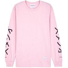 MKI MIYUKI ZOKU Pink Printed Cotton Top - Size L ($52) ❤ liked on Polyvore featuring men's fashion, men's clothing, men's shirts, mens cotton shirts, mens long sleeve shirts, mens short sleeve cotton shirts, mens french cuff shirts and pink mens clothing
