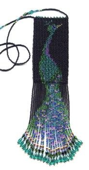 Beaded Peacock Amulet Bag.    Peyote stitch, delica beads