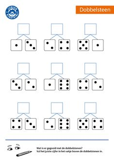 How much was thrown with both dice? Do you recognize the patterns on a dobb . Numbers Preschool, Preschool Math, Kindergarten Math Worksheets, Preschool Activities, Montessori Math, Kids Study, 1st Grade Math, Math For Kids, Kids Education
