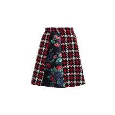 MSGM     Houndstooth Plaid Mini Skirt ($515) ❤ liked on Polyvore featuring skirts, mini skirts, tartan mini skirt, plaid miniskirt, mini skirt, msgm skirt and plaid mini skirt