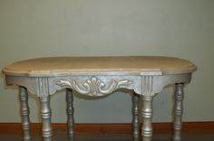 6 leg Antique table- painted w/ Annie Sloan coco then metallic silver glaze  SOLD