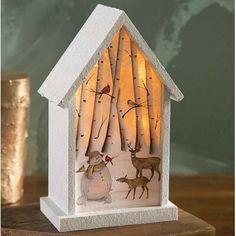 Lighted Snowman Birdhouse Diorama