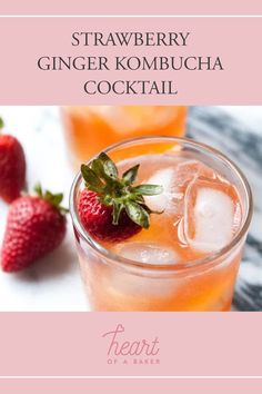 Are you looking for a quick and easy cocktail recipe? Click through to find out how to make this Strawberry Ginger Kombucha Cocktail! | Heart of a Baker #cocktail #cocktailrecipe #kombuchacocktail Easy Alcoholic Drinks, Easy Cocktails, Drinks Alcohol Recipes, Cocktail Recipes, Drink Recipes, Kombucha Cocktail, Healty Dinner, Trifle Pudding, Vegan Smoothies