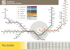 Full-colour poster showing The Smiths discography, based on the Manchester tram map. This poster is x printed to a high quality on silk finish paper and is packaged and despatched (worldwide) in a sturdy cardboard tube. The Smiths, Transport Map, Public Transport, Manchester Tram Map, Manchester Uk, Business Innovation, Innovation Design, London Map, Exhibition Poster