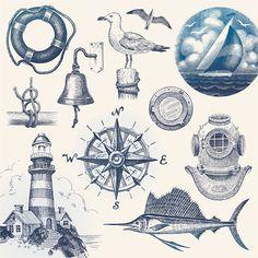 Nautical Design, Vintage Nautical, Nautical Theme, Nautical Artwork, Nautical Prints, Free Vector Graphics, Free Vector Art, Free Vector Images, Nautique Vintage