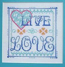 Live Love - cross stitch design using Kreinik Silk Mori.