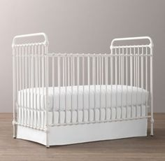 RH baby&child's Kennedy Iron Crib:Our crib's simple curves, round spindles and ball feet evoke a quintessential Americana. Inspired by an antique, it is expertly crafted of iron and features a distressed white finish that evokes the look of a cherished fa Iron Crib, Restoration Hardware Baby, Modern Crib, Rh Baby, Nate Berkus, Room Interior Design, Girl Nursery, Nursery Ideas, Nursery Decor