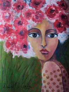 Afro froral II, tecnica mixta, obra de Denise Quijada.