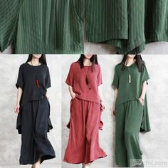 deb3c2a1d80893 New green silk fashion two pieces low high design asymmetric pullover tops  and elastic waist wide leg pants