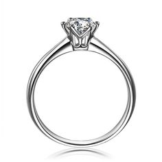 JOLIJOLIES 925 Sterling Silver 1CT Solitaire Engagement Ring 6 Claws Set Solitaire Engagement Ring