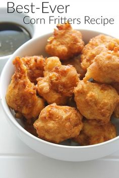 Best-ever corn fritters recipe from my Gram's kitchen to yours. They're extra yummy served with a little maple syrup for drizzling.