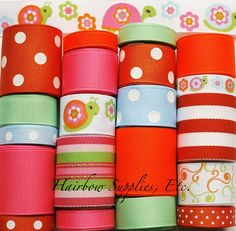 MTMG Growing Flowers Lot 20 yards Grosgrain by HairbowSuppliesEtc