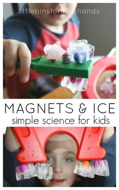 Ice magnet play is an easy science activity to set up for young kids. Explore ice and magnets together.