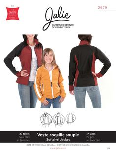 Stretch Softshell Jacket Jalie Sewing Pattern 2679. Girls 2 to 13y, Womens 2 to 24.