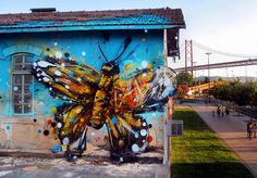 a cross between sculpture, trash-art & paintings, these murals in Lisbon were created with garbage to show that the waste used is destroying the very nature it depicts. by Bordalo II 3d Street Art, Murals Street Art, Amazing Street Art, Street Art Graffiti, Street Artists, Bright Paintings, Cool Paintings, Fantasy Angel, Urbane Kunst