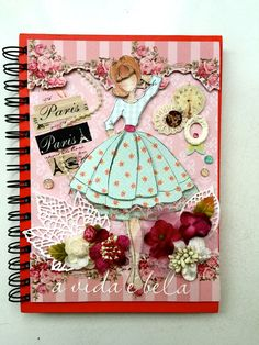Iris Atelie: Caderno para caligrafia ou Lettering Prima Paper Dolls, Prima Doll Stamps, Scrapbook Paper Crafts, Scrapbook Cards, Scrapbook Albums, Altered Composition Notebooks, Paper Quilling Earrings, Doll Crafts, Card Tags
