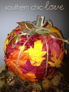 Southern Chic Love: diy fall leaf pumpkin