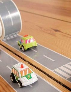 Check out this awesome roadway tape for your little one to race his Hot Wheels on. Line pieces up side by side and drag race, or create a zig-zag track for some speedy fun!
