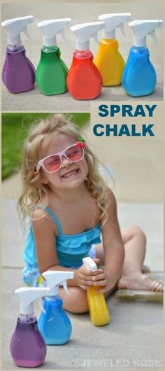 Spray chalk is a great way to play outside. Incredibly fast to make, washable, and fun!