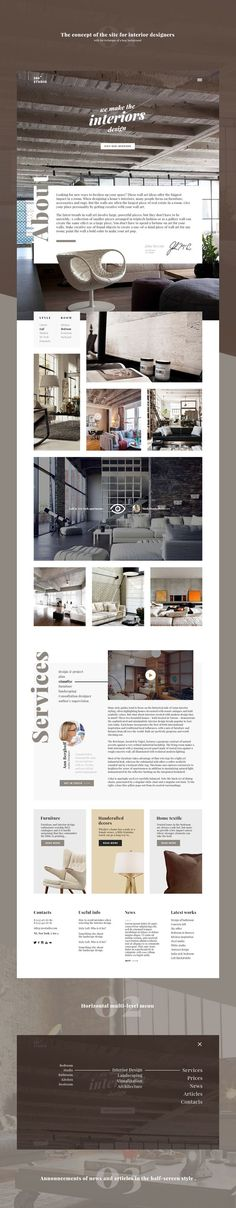 The concept of the site for interior designers.: