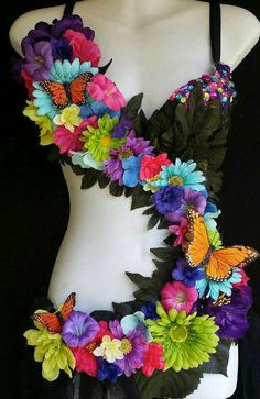Colorful Fairy Monokini Rave Outfit Bright by RevoltCouture