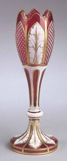 Fine French Overlay White-Cut-to-Cranberry Vase
