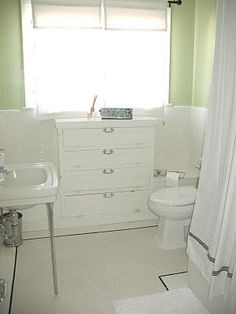 1920s bathroom hex tile white