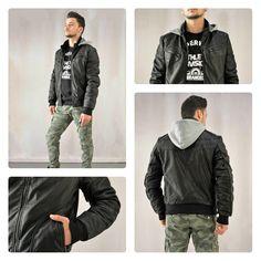Leather jacket!!! Ανδρικό μαύρο μπουφάν με κουκούλα φούτερ.  #metaldeluxe #mensfashion #mensclothing #shopping #onlineshopping #fashion #clothes #sales #jacket #leatherjacket