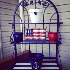 painted bakers rack | Took an old bakers rack, bit of paint and some old flower pots and ...