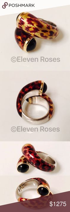 Menegatti Phillip Gabriel Sterling 18k Enamel Ring Phillip Gabriel / Menegatti 18k Gold Sterling & Enamel Bypass Ring - 925 Sterling Silver & 750 18k Yellow Gold - Animal Print Enamel - Black Onyx Cabochon Ends (approx 7mm) - Weighs Approx 16.7 Grams - US Size 6.5 - A Beautiful Estate Piece Fine Jewelry Jewelry Rings