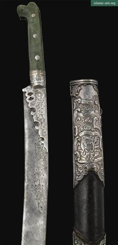 AN OTTOMAN JADE-HILTED SILVER-MOUNTED SWORD (YATAGHAN) AND SCABBARD, TURKEY, DATED A.H. 1188/ A.D. 1774-5